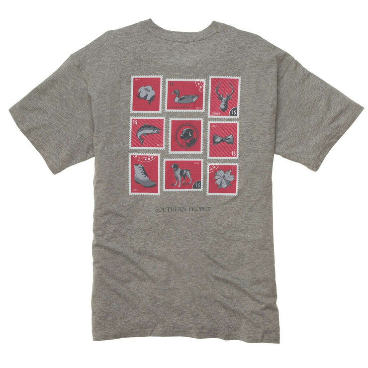 Southern Proper - Southern Stamp Tee: Heather Grey Short Sleeve