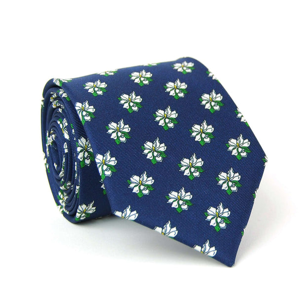 Southern Proper - Sweet Magnolia Tie: Navy
