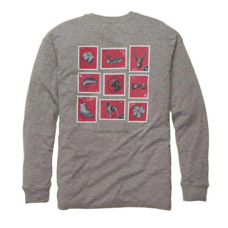 Southern Proper - Southern Stamp Tee: Heather Grey Long Sleeve