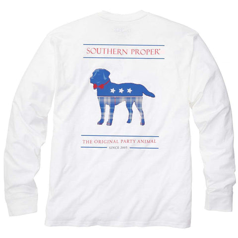 Southern Proper - Plaid Party Animal Tee: White Long Sleeve