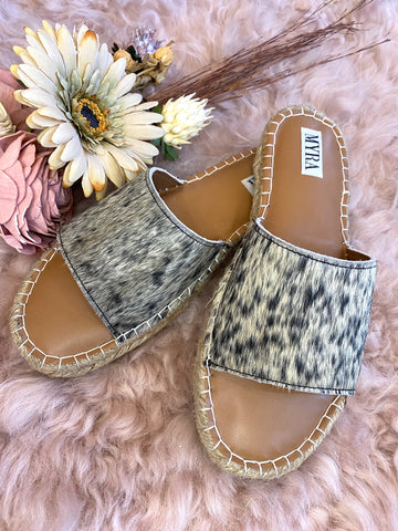 The Delilah Cowhide Slides
