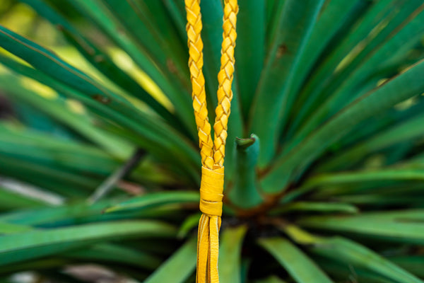 Handcut Deerskin Necklace - Mustard