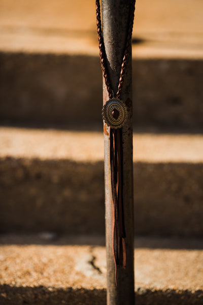 Dark Brown Concho Necklace