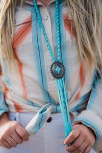 Light Turquoise Concho Necklace
