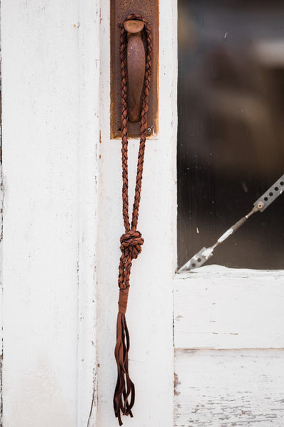Extra Long Deerskin Necklace - Brown