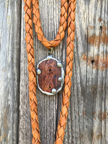Vintage Belt Deerskin Necklace - Saddle Tan