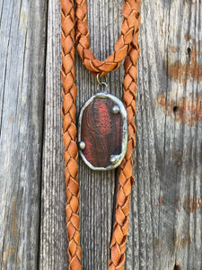 Vintage Belt Deerskin Necklace - Saddle Tan Oval Pendant