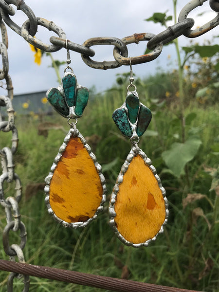 Mustard Gold Acid Wash Cowhide Earrings