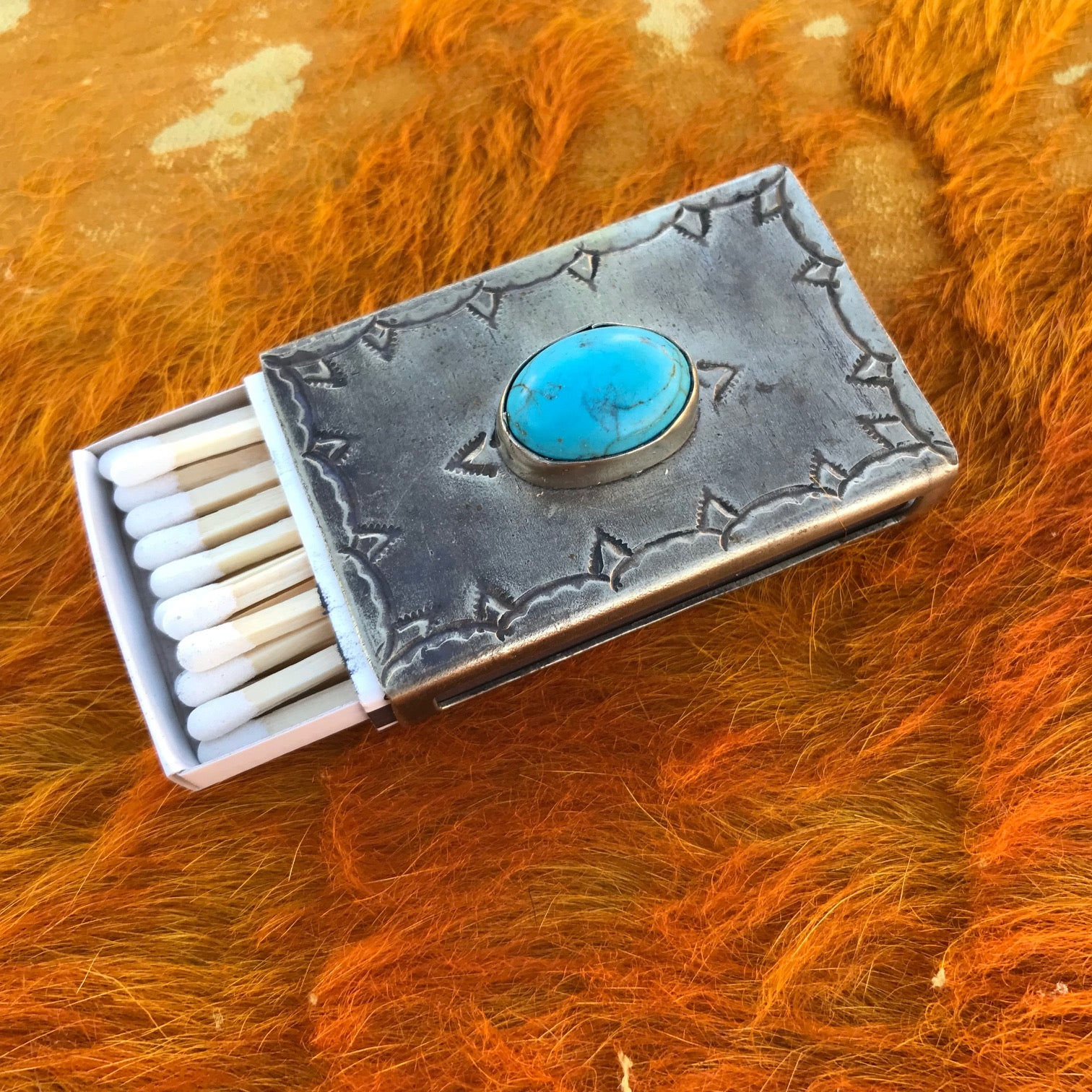 Stamped Matchbox with Turquoise