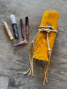 Mustard Cowhide Roll Up Makeup Case