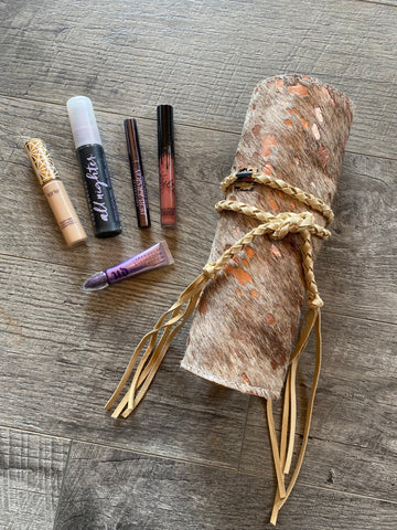 Rose Gold Cowhide Roll Up Makeup Case