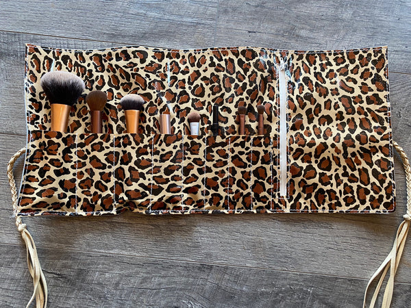 Roll It on Up Makeup Bag - Rose Gold Cowhide