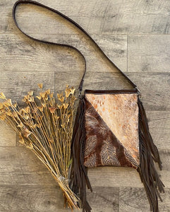 Rose Gold Feathered Divide Crossbody