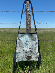 Turquoise Acid Wash Shoulder Bag