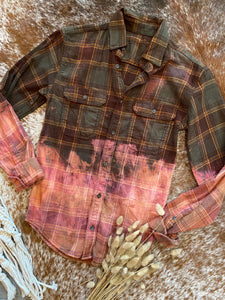 Olive & Pink Bleached Flannel