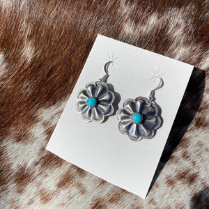 Silver & Turquoise Concho Earrings