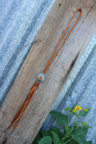 Saddle Tan Concho Necklace