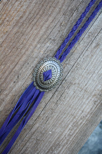 Purple Braided Concho Necklace