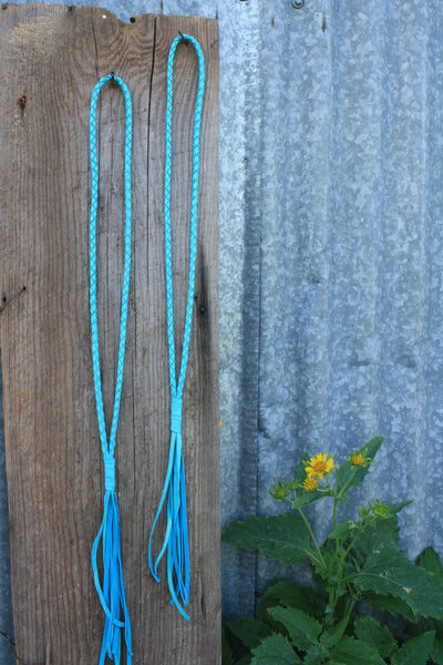 Light Turquoise Braided Leather Necklace
