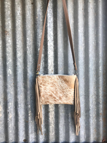 Tan Speckled Cowhide Crossbody