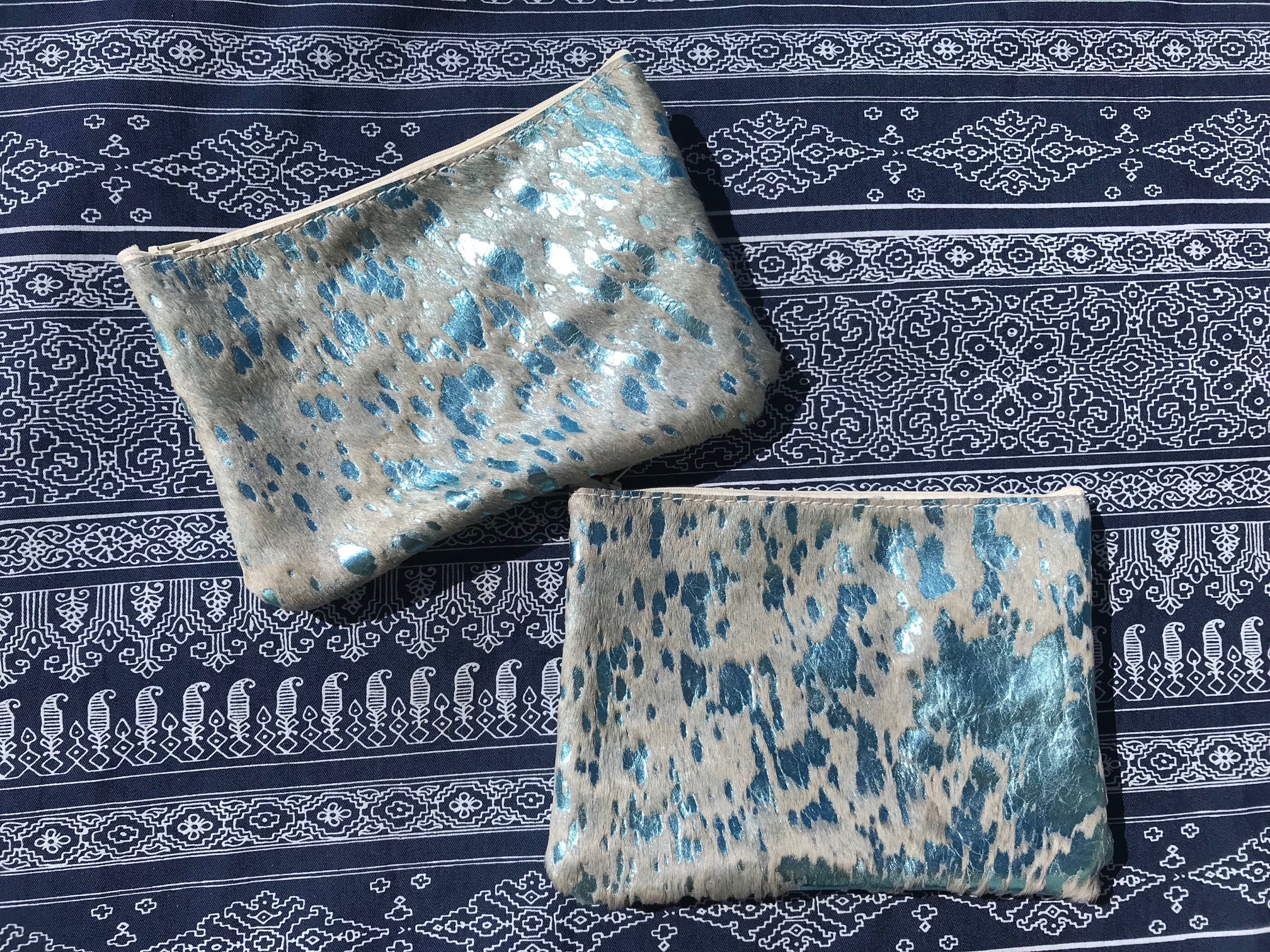Light Turquoise Acid Wash Pouch