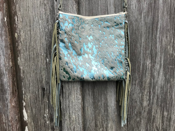 Light Turquoise Acid Wash Mini Croosbody