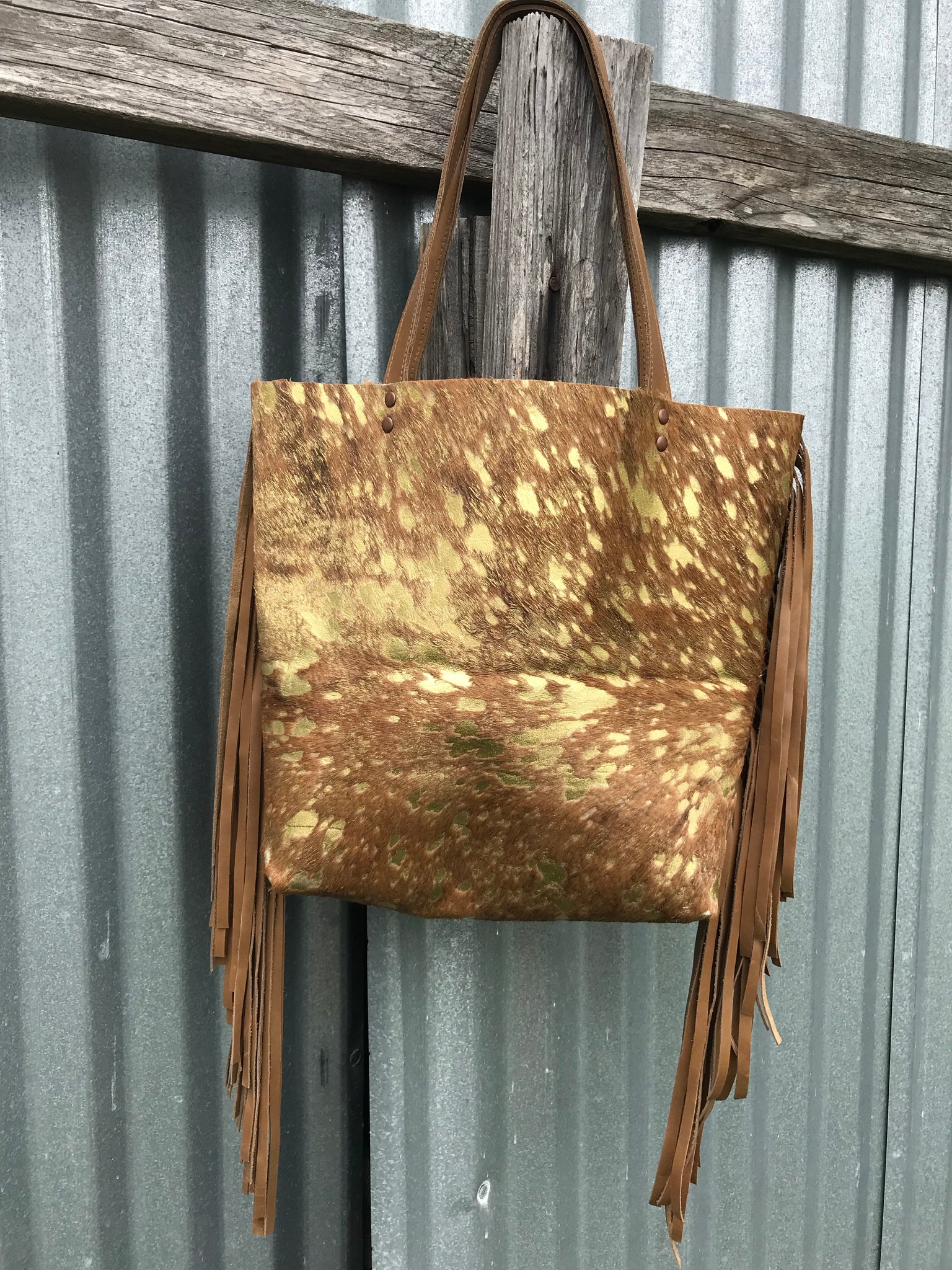 Brown & Gold Cowhide Acid Wash Tote Bag