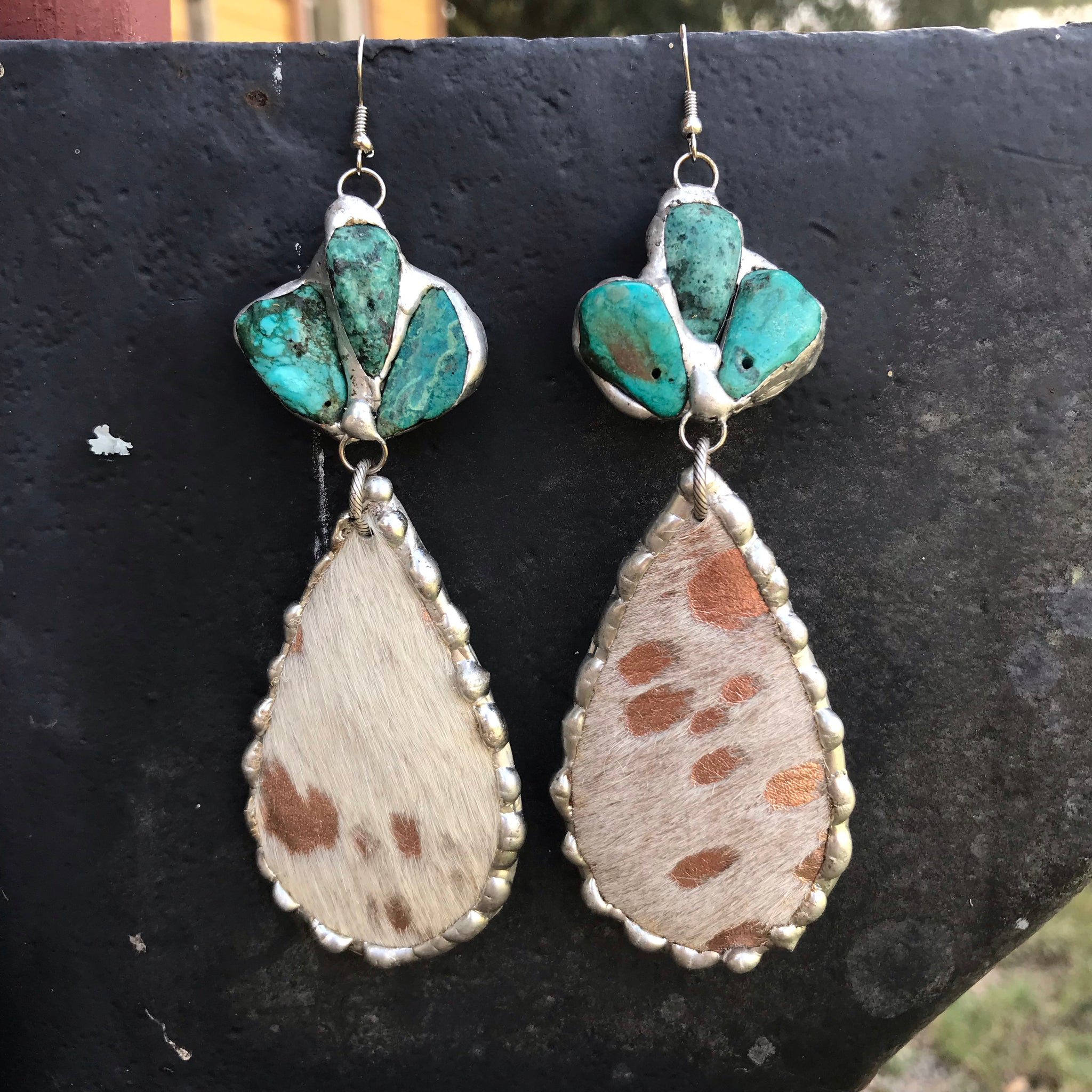 Rose Gold Acid Wash Cowhide Earrings