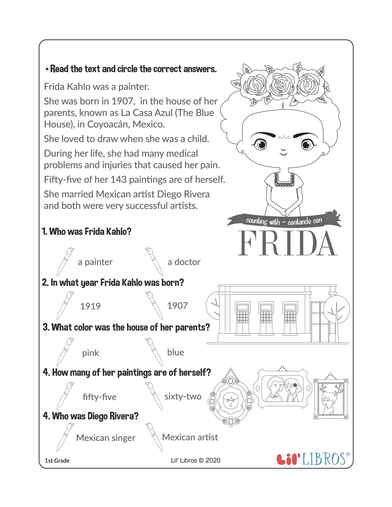 - Frida Activity Worksheet - Reading Comprehension – Lil' Libros