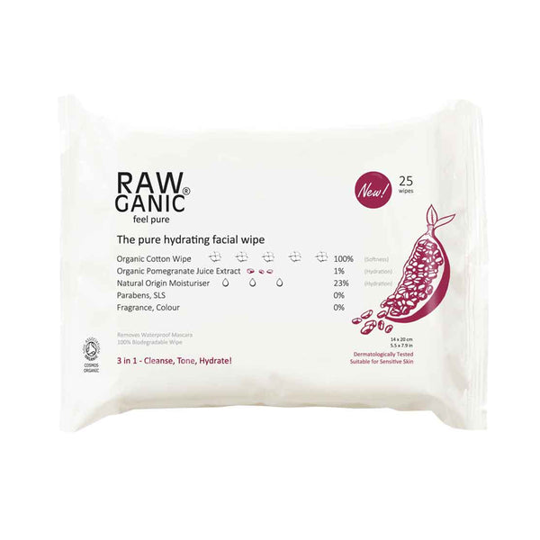Rawganic - Rawganic Hydrating Pomegranate Facial Wipes 25 Pack