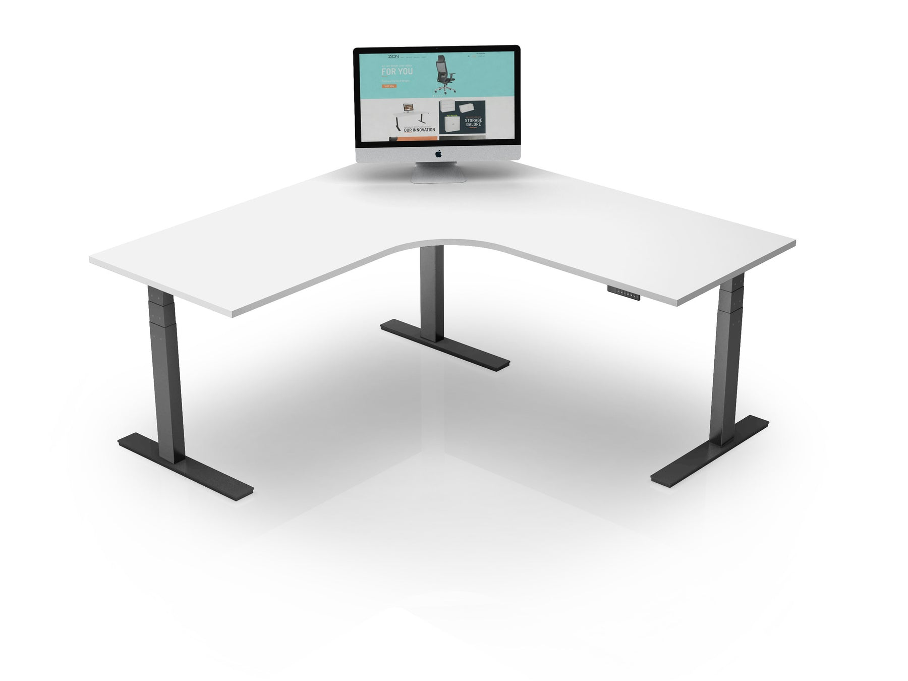AK Electric Height Adjustable L Shape Desk