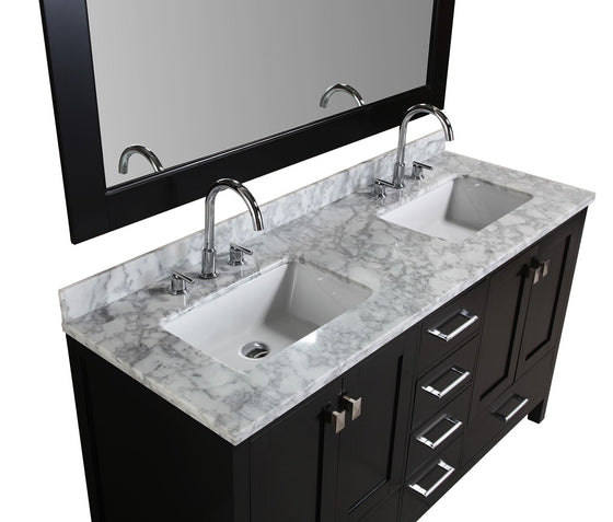 w double vanity in espresso with marble vanity top in ivory
