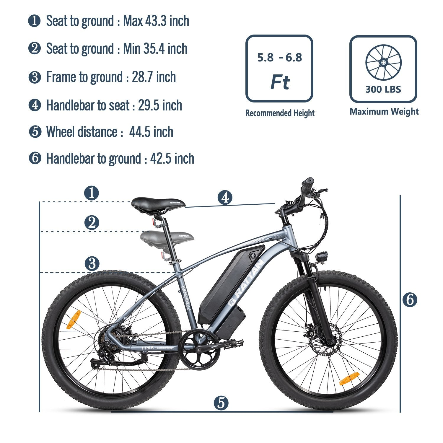 COMPASS - 500 Watts Fat Tire Aluminum Electric Bike in 2 Colors