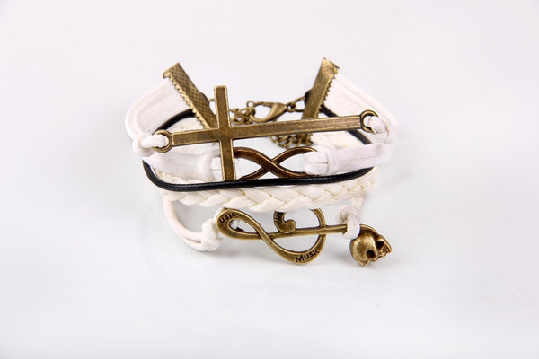 Bronze Cross Infinity Music Symbol Bracelet