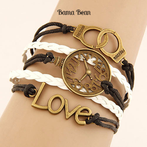 Charm Vintage Multilayer Charm Leather Bracelet Women Owl Cross Believe Bracelets