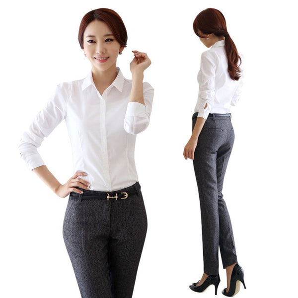 Women work wear Long Sleeve Tops Slim Women's Blouses Bama Bean