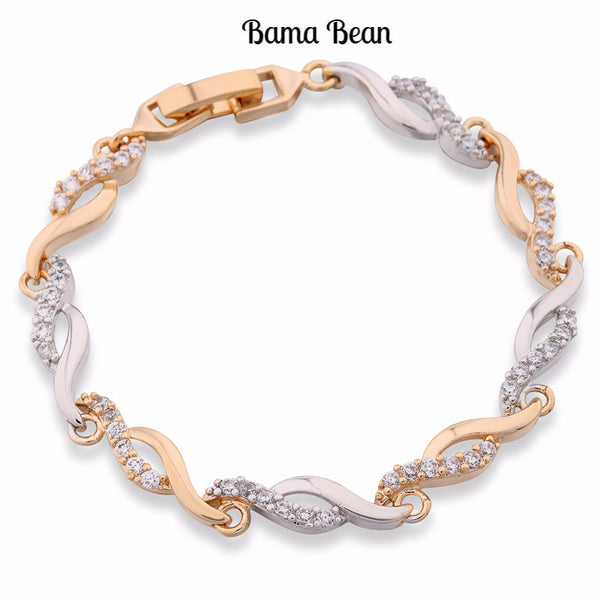 Hand Link Chain Bracelets  18K Gold Platinum Plated Twisted Bangle