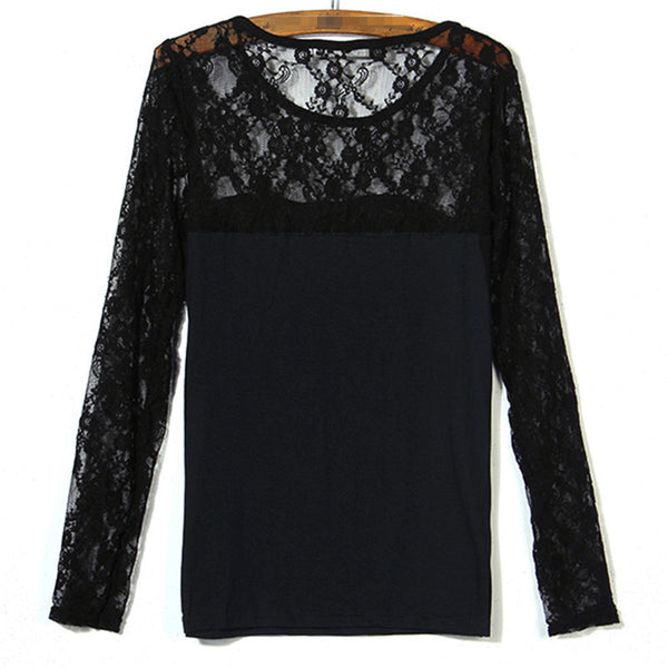Womens Fashion Sexy Slim Shirt Tops Lace Long Sleeve Bama Bean