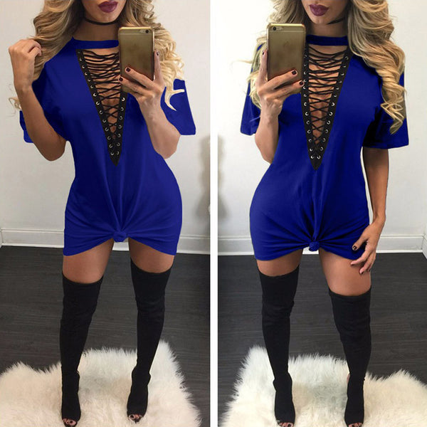 Deep V Neck Lace Up Dress
