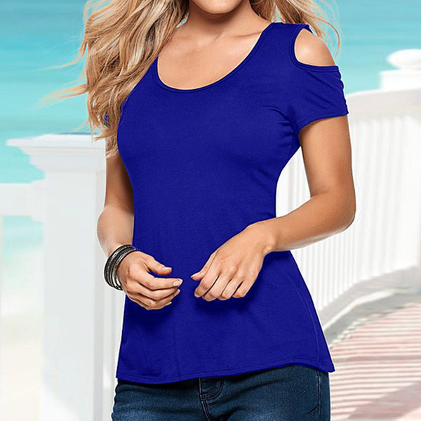 Short Sleeve Hollow Backless Blouse