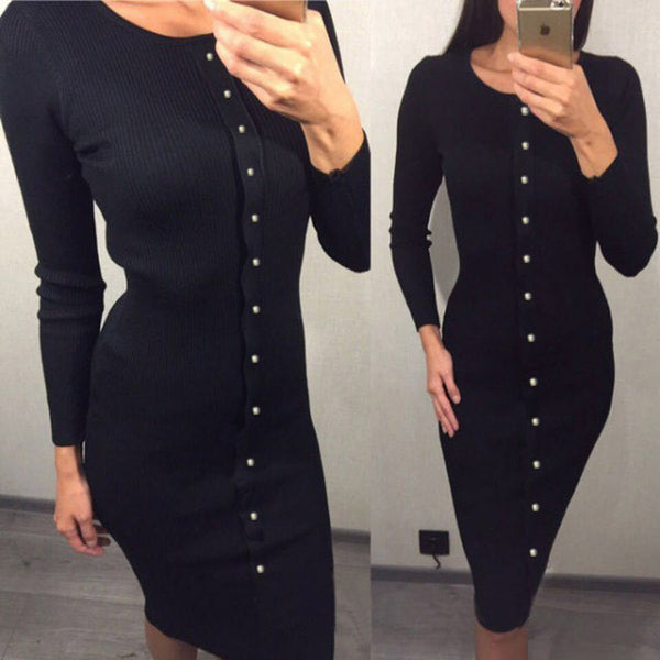 Button Knitted Mid-calf O-neck Dress