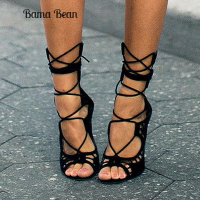Cut Outs Lace Up Open Toe Woman Gladiator Heels