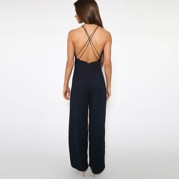 Sleeveless Backless Embroidery Jumpsuit