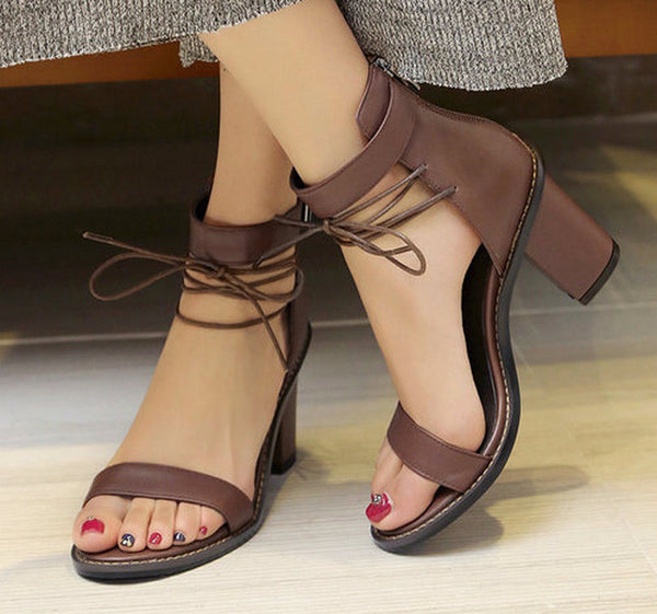 Square High Heel Summer Sandals