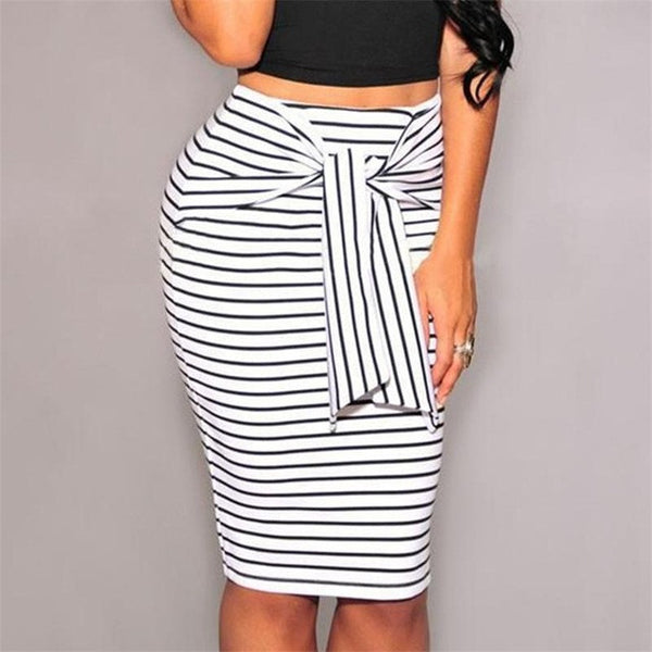 Striped Bow-Tie Pencil Skirt