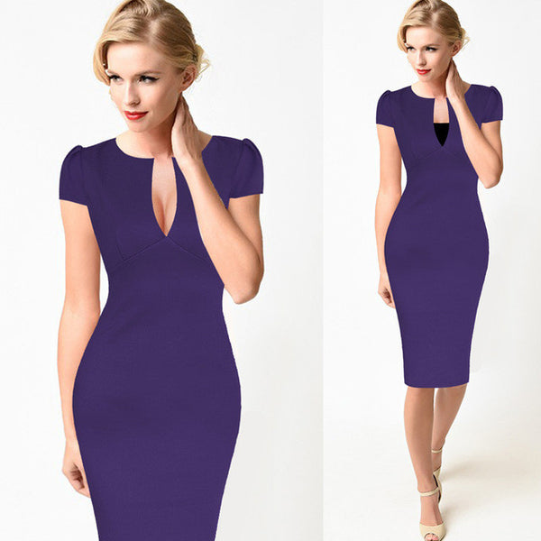 Open Neck Pencil Dress