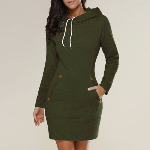 Long Sleeve Hooded Mini Dresses