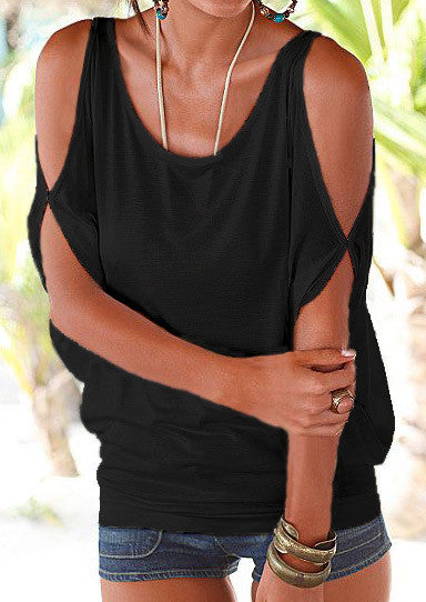 Half Sleeve Solid Casual Off Shoulder Tops