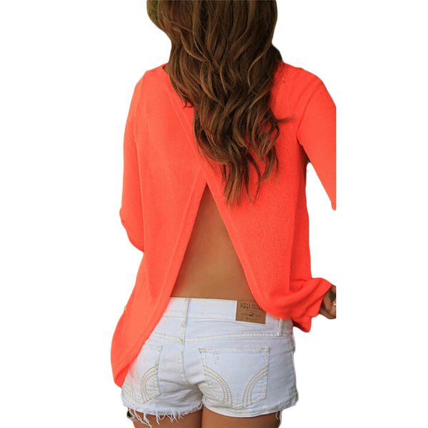 Backless Split Blouse