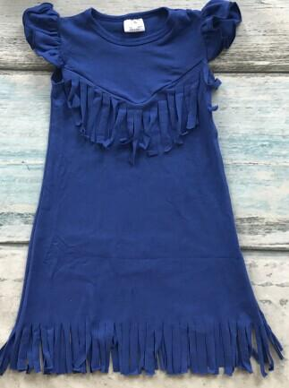 Solid Tassels cotton dress